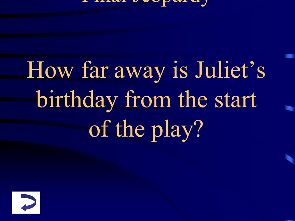 Final Jeopardy How far away is Juliets birthday from the start of the play?