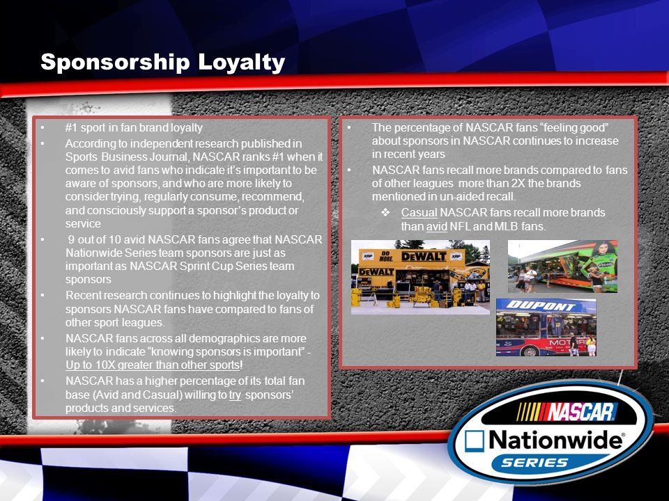 Sponsorship Loyalty #1 sport in fan brand loyalty According to independent research published in Sports Business Journal, NASCAR ranks #1 when it comes to avid fans who indicate its important to be aware of sponsors, and who are more likely to consider trying, regularly consume, recommend, and consciously support a sponsors product or service 9 out of 10 avid NASCAR fans agree that NASCAR Nationwide Series team sponsors are just as important as NASCAR Sprint Cup Series team sponsors Recent research continues to highlight the loyalty to sponsors NASCAR fans have compared to fans of other sport leagues.