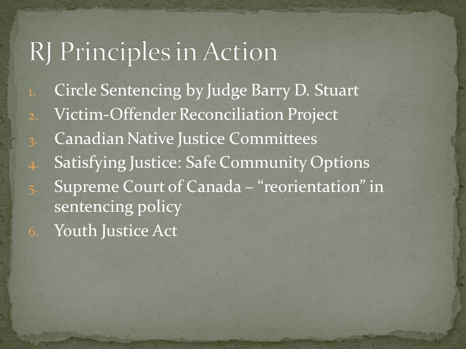 1. Circle Sentencing by Judge Barry D. Stuart 2. Victim-Offender Reconciliation Project 3. Canadian Native Justice Committees 4. Satisfying Justice: S