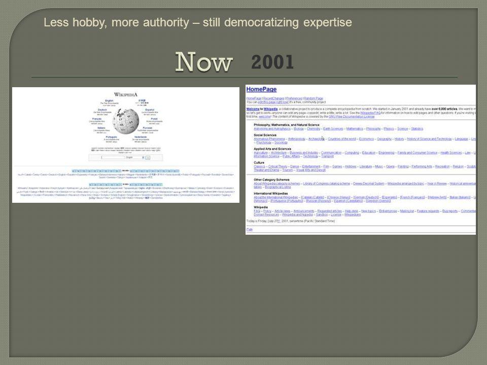 2001 Less hobby, more authority – still democratizing expertise