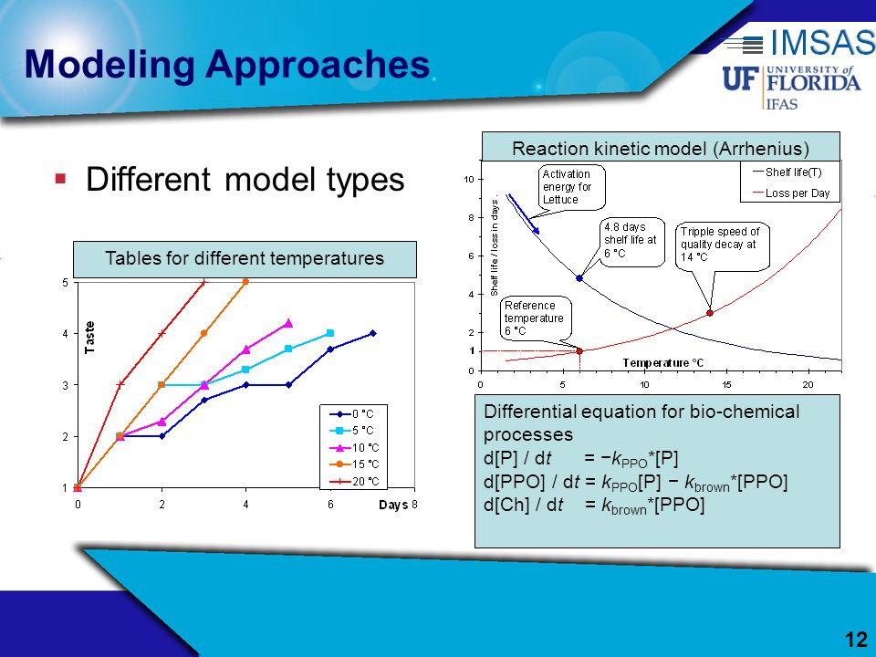 12 Modeling Approaches Different model types Tables for different temperatures Reaction kinetic model (Arrhenius) Differential equation for bio-chemic