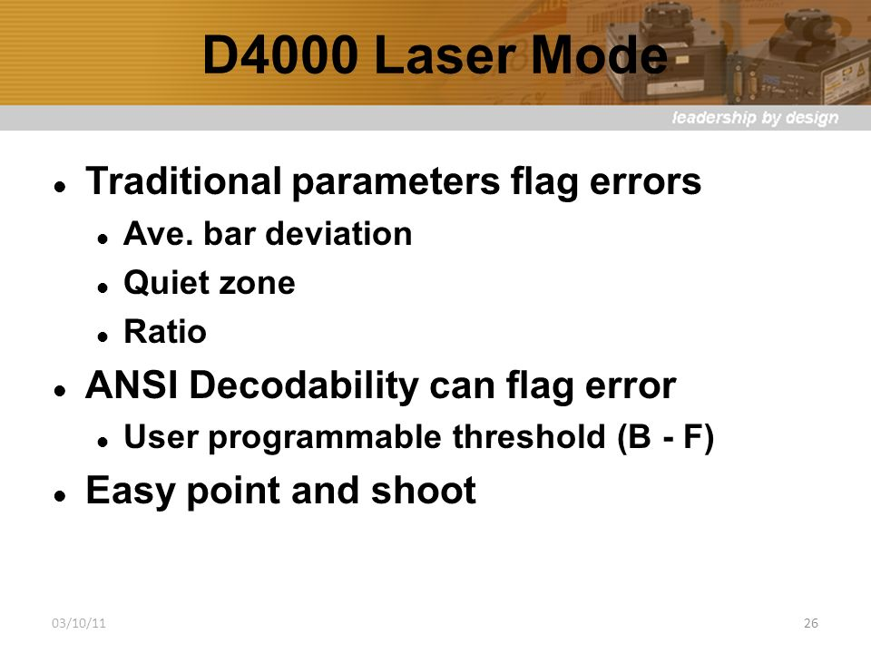 D4000 Laser Mode Traditional parameters flag errors Ave.