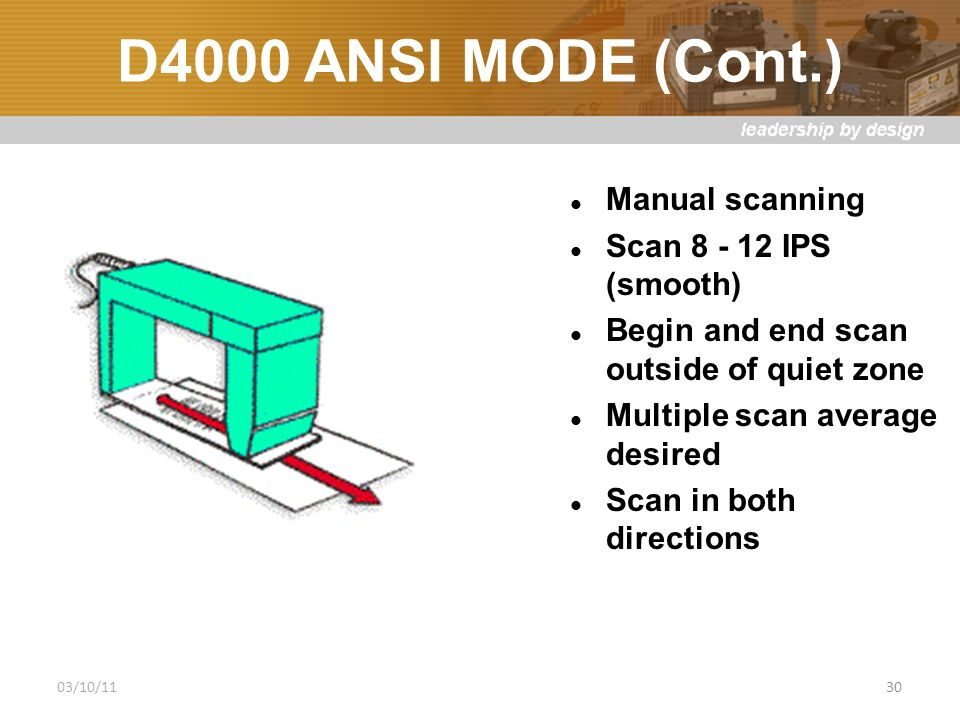 D4000 ANSI MODE (Cont.) Manual scanning Scan 8 - 12 IPS (smooth) Begin and end scan outside of quiet zone Multiple scan average desired Scan in both directions 03/10/1130