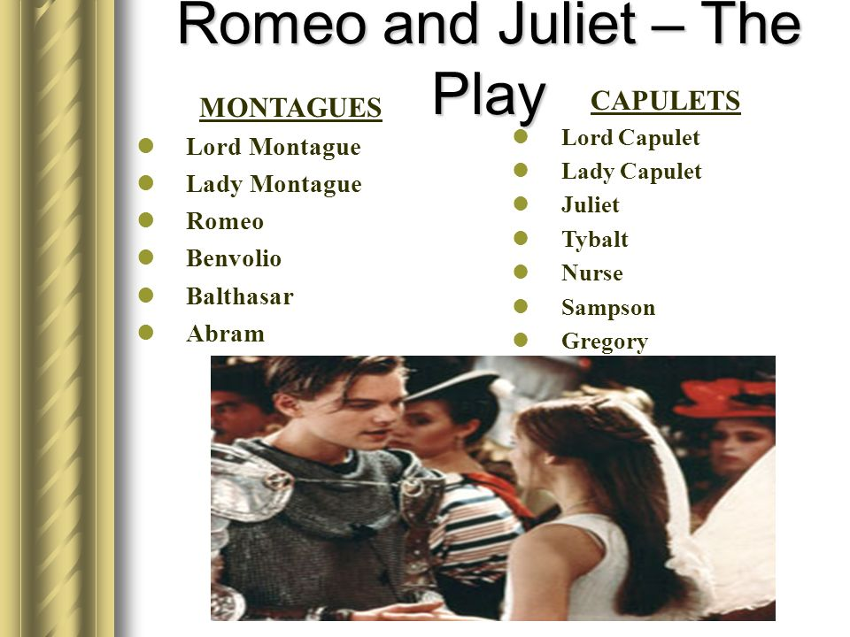 Romeo and Juliet – The Play MONTAGUES Lord Montague Lady Montague Romeo Benvolio Balthasar Abram CAPULETS Lord Capulet Lady Capulet Juliet Tybalt Nurs