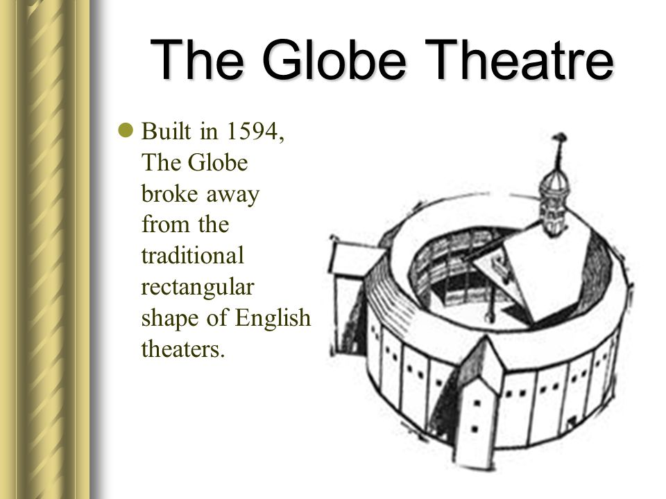 The Globe Theatre Built in 1594, The Globe broke away from the traditional rectangular shape of English theaters.