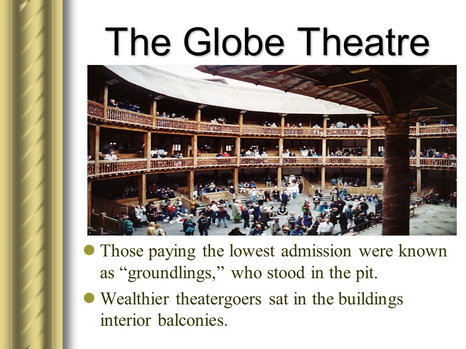 The Globe Theatre Those paying the lowest admission were known as groundlings, who stood in the pit. Wealthier theatergoers sat in the buildings inter