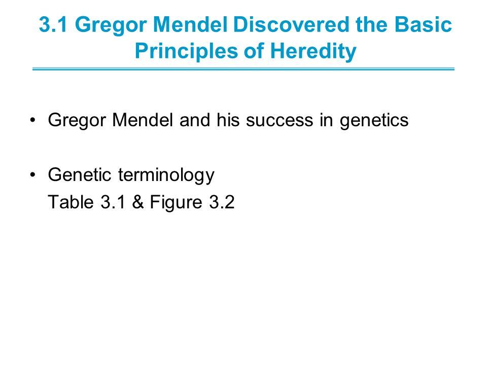 3.1 Gregor Mendel Discovered the Basic Principles of Heredity Gregor Mendel and his success in genetics Genetic terminology Table 3.1 & Figure 3.2