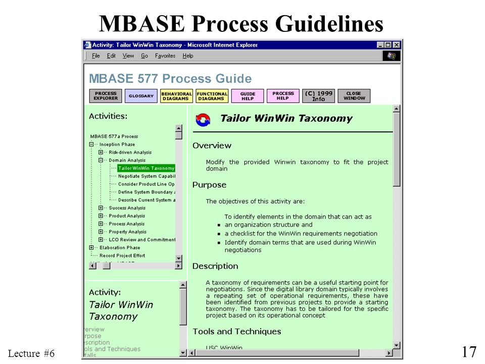 17 Lecture #6 MBASE Process Guidelines