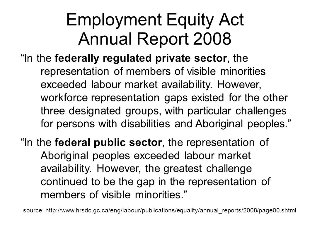 In the federally regulated private sector, the representation of members of visible minorities exceeded labour market availability. However, workforce