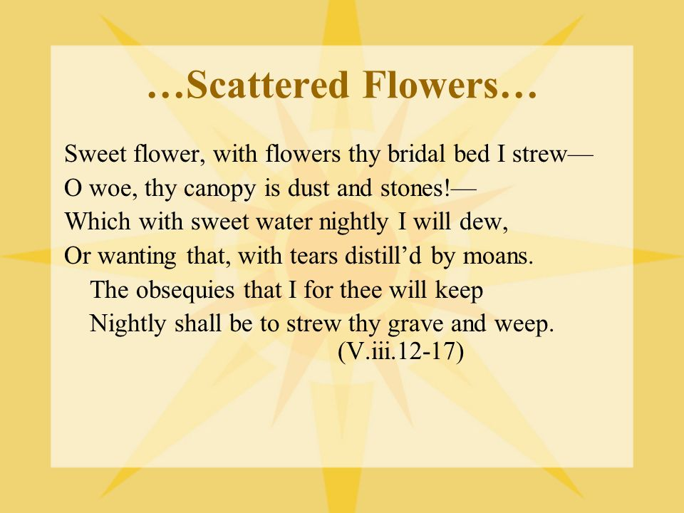 …Scattered Flowers… Sweet flower, with flowers thy bridal bed I strew O woe, thy canopy is dust and stones! Which with sweet water nightly I will dew,
