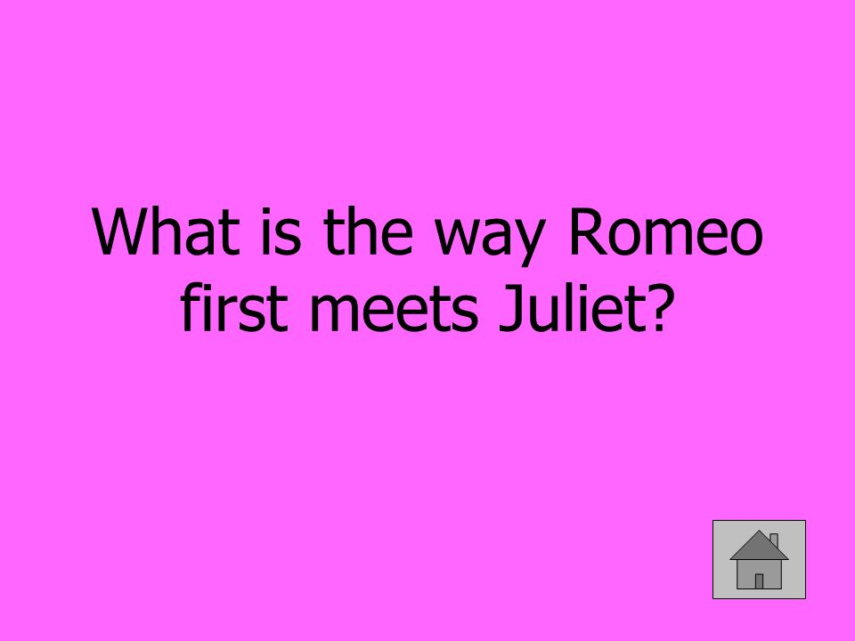What is the way Romeo first meets Juliet