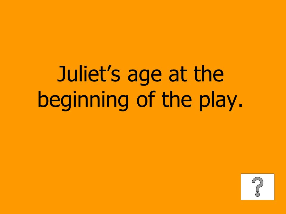 Juliets age at the beginning of the play.
