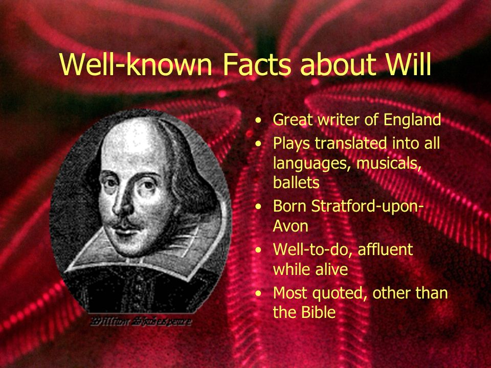Well-known Facts about Will Great writer of England Plays translated into all languages, musicals, ballets Born Stratford-upon- Avon Well-to-do, affluent while alive Most quoted, other than the Bible