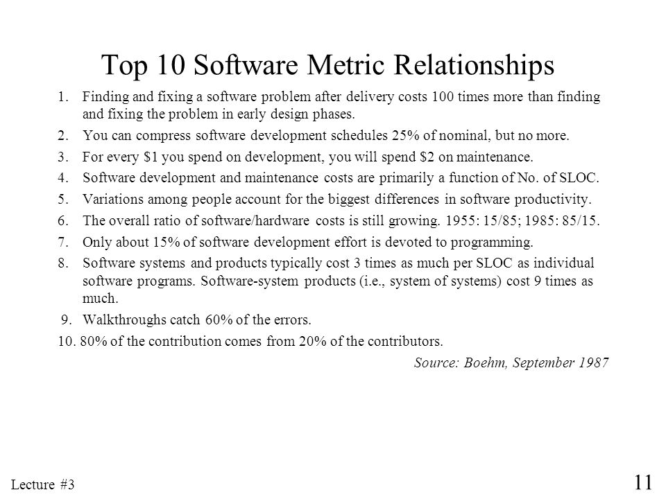 11 Lecture #3 Top 10 Software Metric Relationships 1.Finding and fixing a software problem after delivery costs 100 times more than finding and fixing