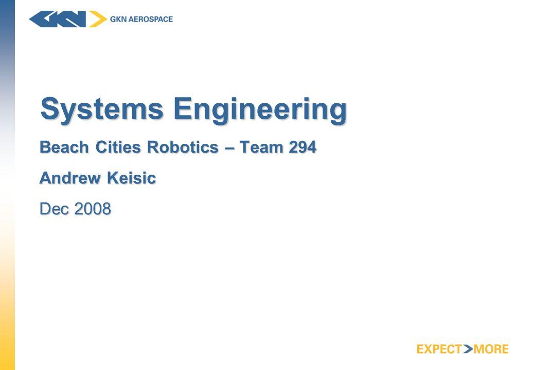 Systems Engineering Beach Cities Robotics – Team 294 Andrew Keisic Dec 2008