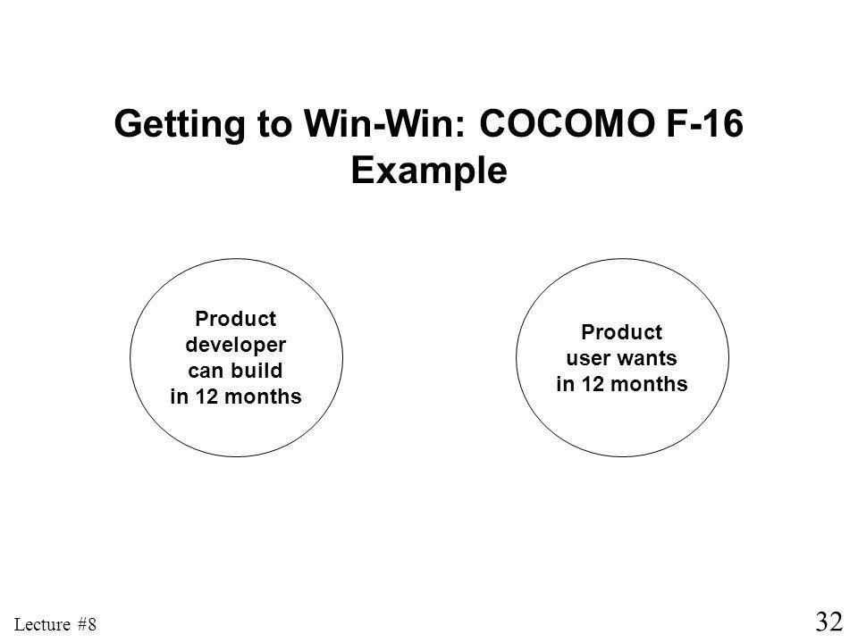 32 Lecture #8 Product developer can build in 12 months Product user wants in 12 months Getting to Win-Win: COCOMO F-16 Example