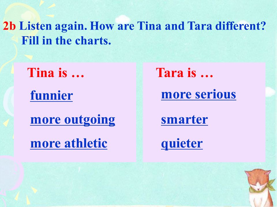 -er / -ier more funny smart quiet outgoing athletic serious 2a Listen. Are the words in the box used with -er / -ier or more? Complete the chart.