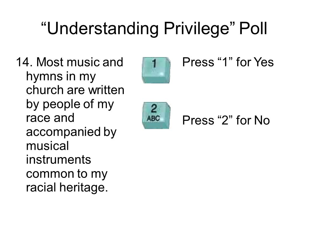Understanding Privilege Poll 14. Most music and hymns in my church are written by people of my race and accompanied by musical instruments common to m