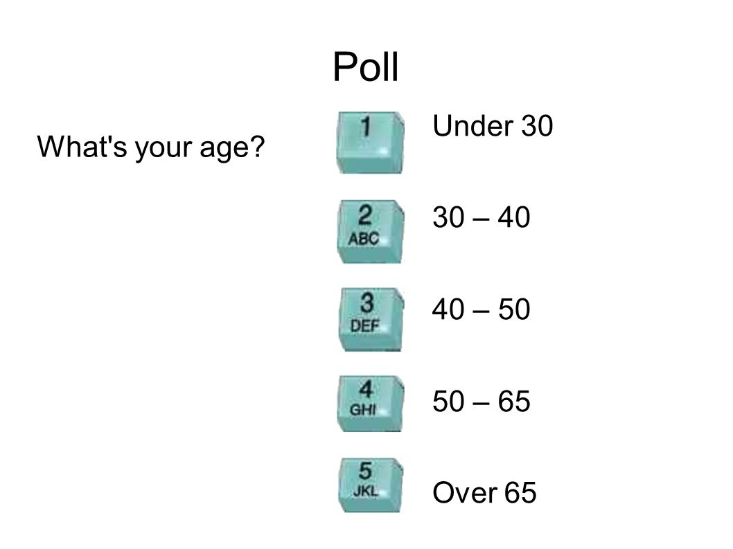 Poll What's your age? Under 30 30 – 40 40 – 50 50 – 65 Over 65