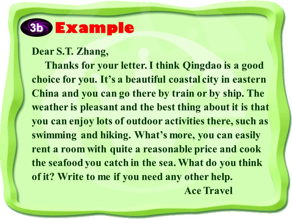Imagine you work for Ace Travel Agency. Write an  back to S.T.