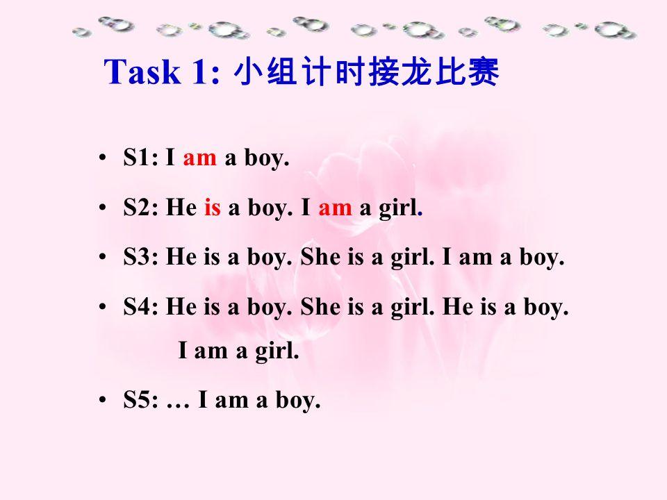 Task 1: S1: I am a boy. S2: He is a boy. I am a girl. S3: He is a boy. She is a girl. I am a boy. S4: He is a boy. She is a girl. He is a boy. I am a