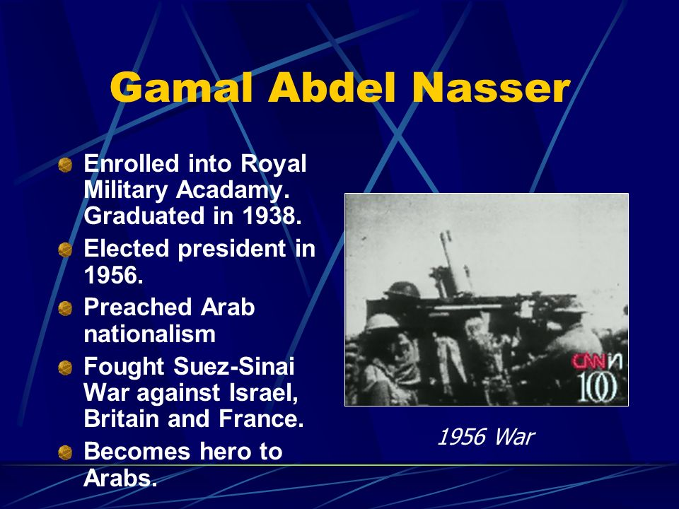 Gamal Abdel Nasser Enrolled into Royal Military Acadamy. Graduated in 1938. Elected president in 1956. Preached Arab nationalism Fought Suez-Sinai War