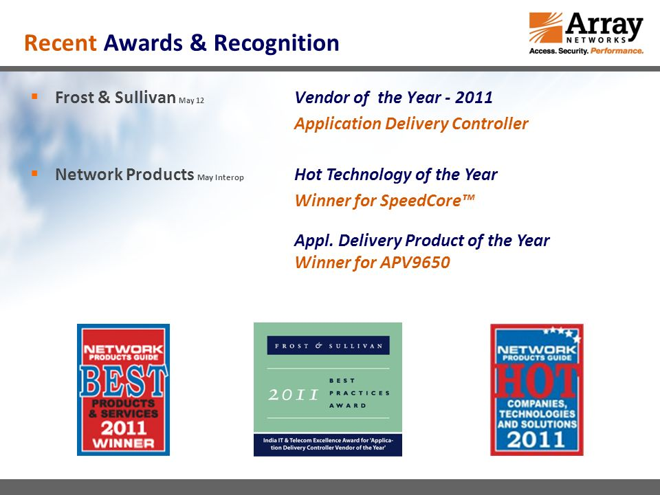 Recent Awards & Recognition Frost & Sullivan May 12 Vendor of the Year Application Delivery Controller Network Products May Interop Hot Technology of the Year Winner for SpeedCore Appl.