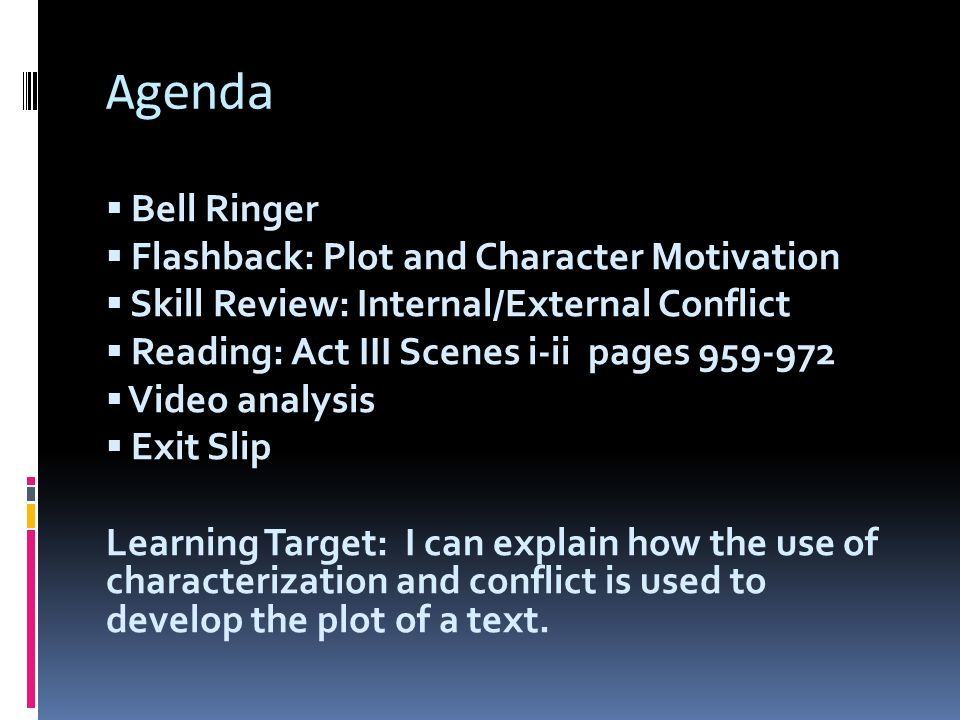 Agenda Bell Ringer Flashback: Plot and Character Motivation Skill Review: Internal/External Conflict Reading: Act III Scenes i-ii pages 959-972 Video