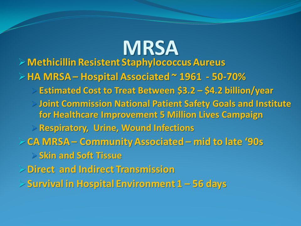 MRSA Methicillin Resistent Staphylococcus Aureus Methicillin Resistent Staphylococcus Aureus HA MRSA – Hospital Associated ~ 1961 - 50-70% HA MRSA – H