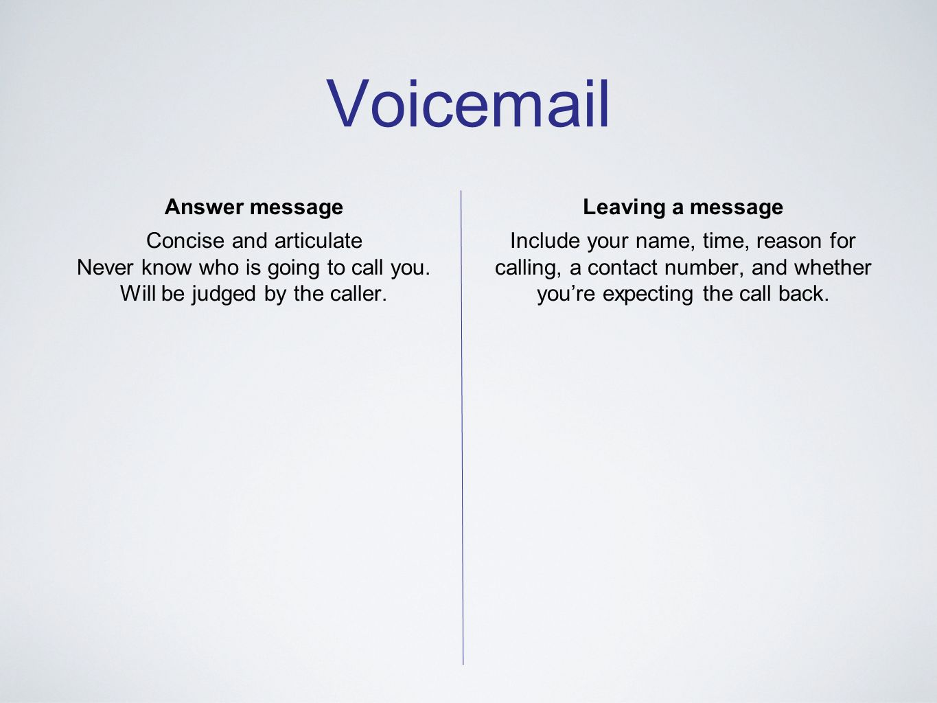 Voicemail Answer message Concise and articulate Never know who is going to call you. Will be judged by the caller. Leaving a message Include your name