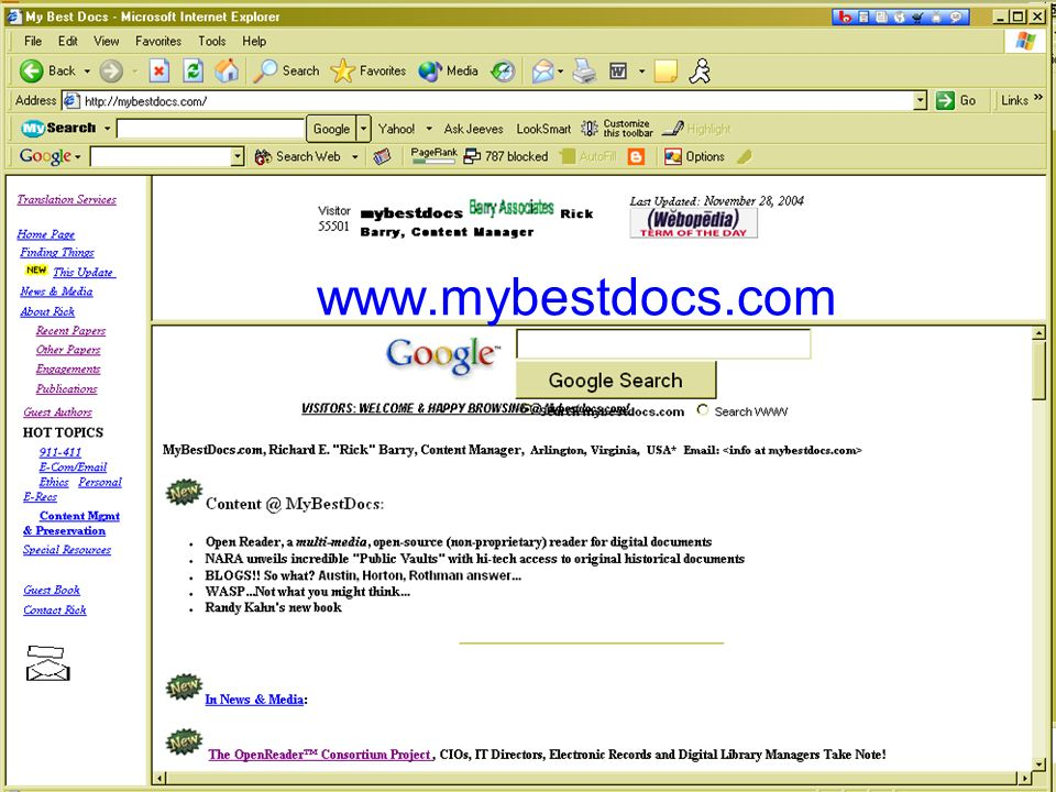 © 2004, R.E.Barry 37 www.mybestdocs.com