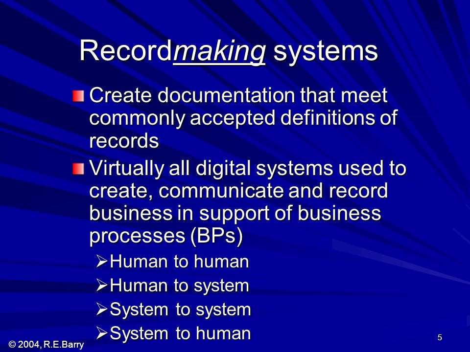 © 2004, R.E.Barry 5 Recordmaking systems Create documentation that meet commonly accepted definitions of records Virtually all digital systems used to create, communicate and record business in support of business processes (BPs) Human to human Human to human Human to system Human to system System to system System to system System to human System to human