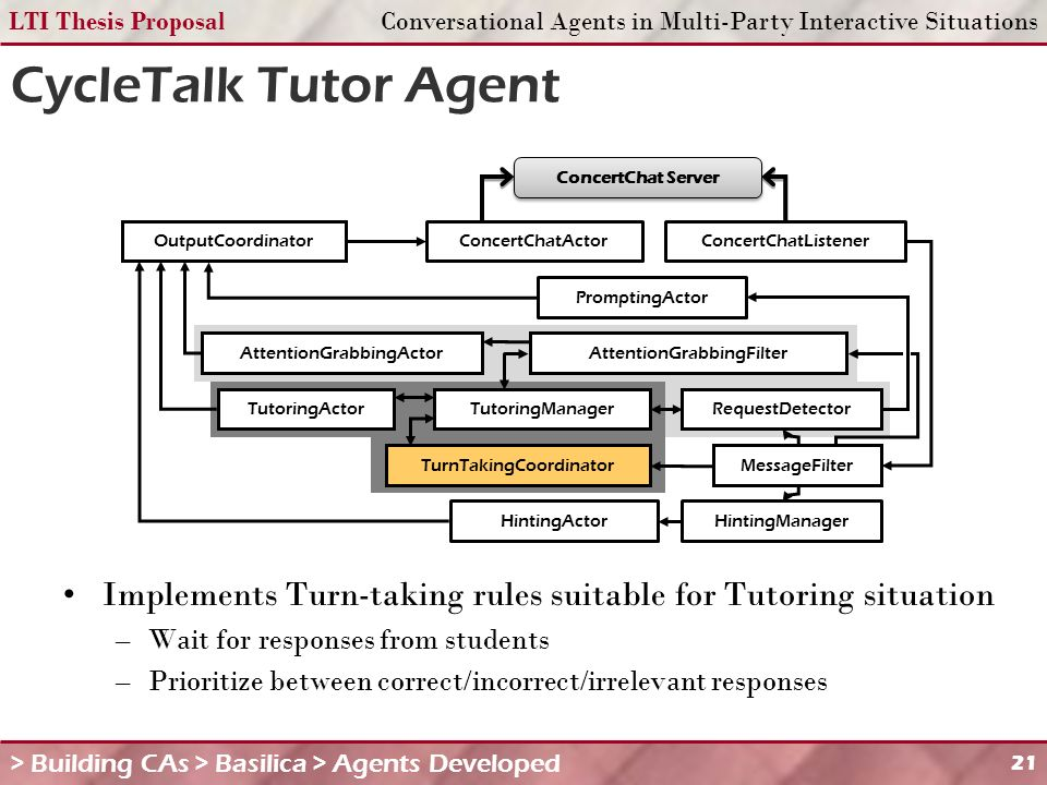 LTI Thesis ProposalConversational Agents in Multi-Party Interactive Situations 21 CycleTalk Tutor Agent Implements Turn-taking rules suitable for Tutoring situation –Wait for responses from students –Prioritize between correct/incorrect/irrelevant responses > Building CAs > Basilica > Agents Developed MessageFilter RequestDetector TurnTakingCoordinator TutoringManager OutputCoordinatorConcertChatActorConcertChatListener ConcertChat Server TutoringActor PromptingActor HintingManagerHintingActor AttentionGrabbingFilterAttentionGrabbingActor