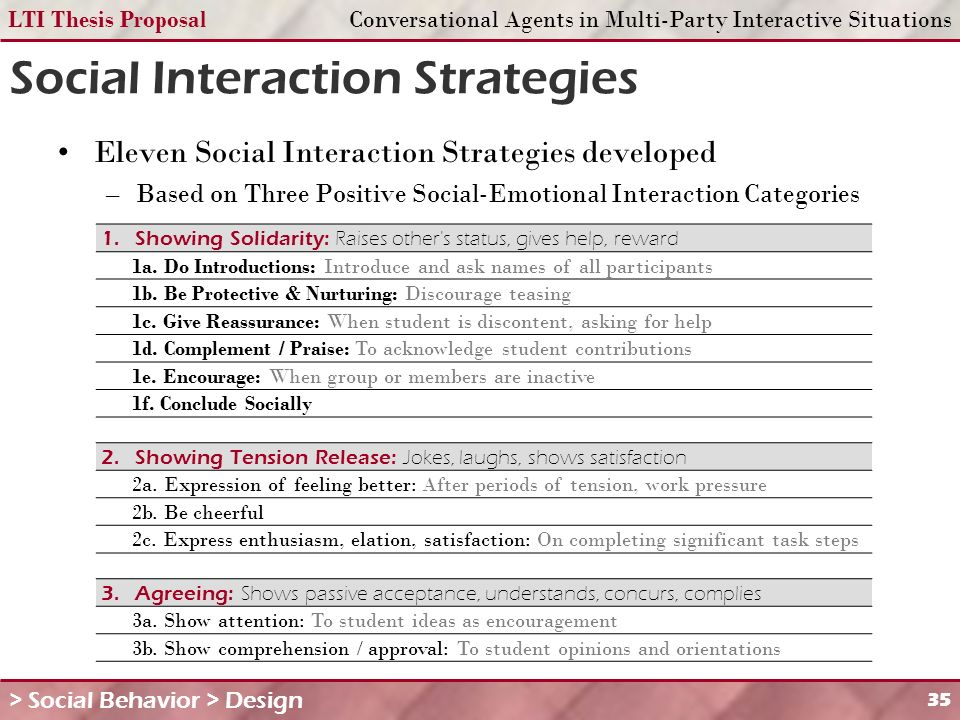 LTI Thesis ProposalConversational Agents in Multi-Party Interactive Situations 35 Social Interaction Strategies Eleven Social Interaction Strategies developed –Based on Three Positive Social-Emotional Interaction Categories > Social Behavior > Design 1.