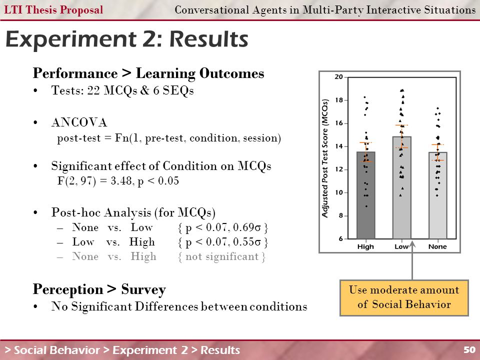 LTI Thesis ProposalConversational Agents in Multi-Party Interactive Situations 50 Experiment 2: Results Performance > Learning Outcomes Tests: 22 MCQs & 6 SEQs ANCOVA post-test = Fn(1, pre-test, condition, session) Significant effect of Condition on MCQs F(2, 97) = 3.48, p < 0.05 Post-hoc Analysis (for MCQs) –None vs.