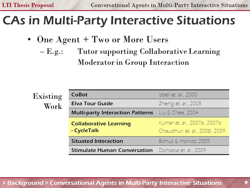 LTI Thesis ProposalConversational Agents in Multi-Party Interactive Situations 9 One Agent + Two or More Users – E.g.:Tutor supporting Collaborative Learning Moderator in Group Interaction CAs in Multi-Party Interactive Situations > Background > Conversational Agents in Multi-Party Interactive Situations CoBot Isbell et.