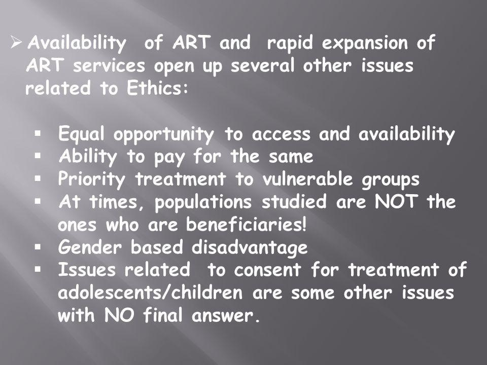 Availability of ART and rapid expansion of ART services open up several other issues related to Ethics: Equal opportunity to access and availability A