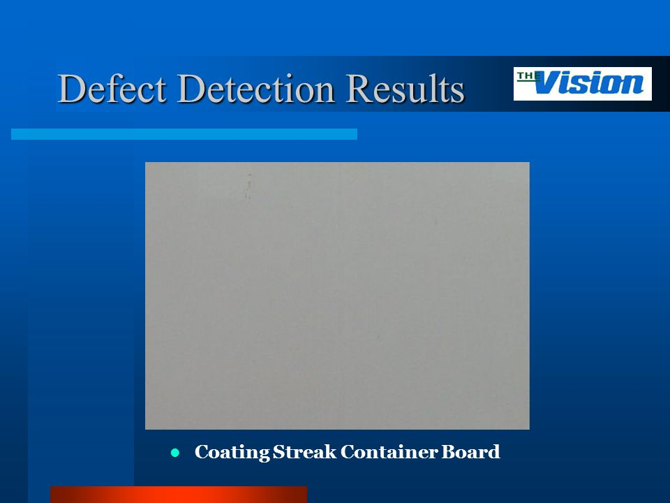 Defect Detection Results Coating Streak Container Board