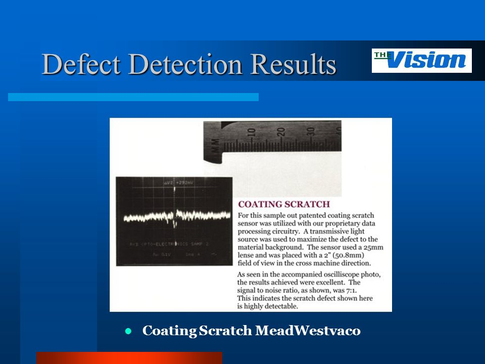 Defect Detection Results Coating Scratch MeadWestvaco