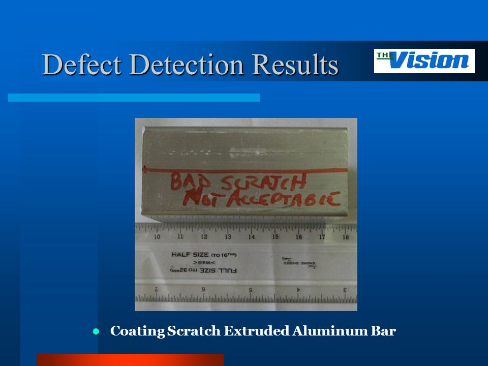 Defect Detection Results Coating Scratch Extruded Aluminum Bar