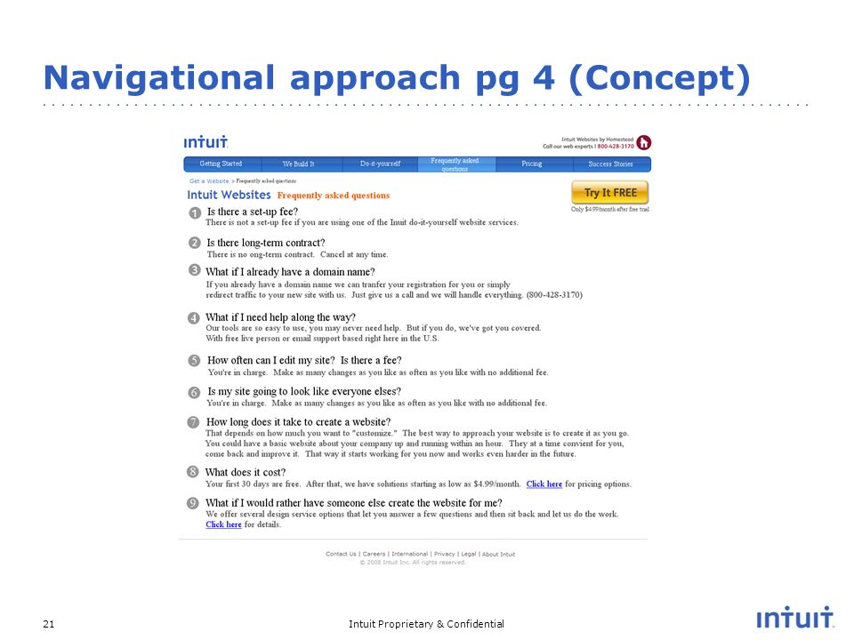 Intuit Proprietary & Confidential21 Navigational approach pg 4 (Concept)