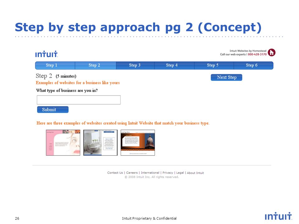 Intuit Proprietary & Confidential26 Step by step approach pg 2 (Concept)