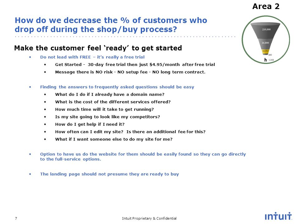 Intuit Proprietary & Confidential7 How do we decrease the % of customers who drop off during the shop/buy process.