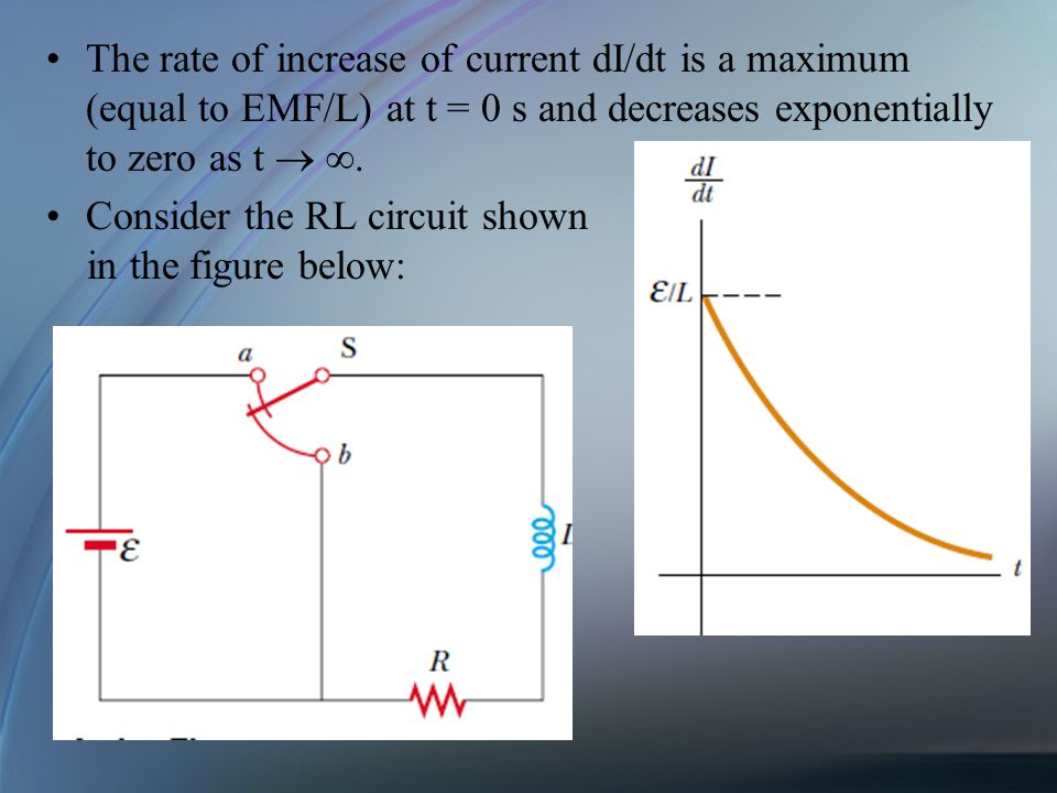 The rate of increase of current dI/dt is a maximum (equal to EMF/L) at t = 0 s and decreases exponentially to zero as t. Consider the RL circuit shown