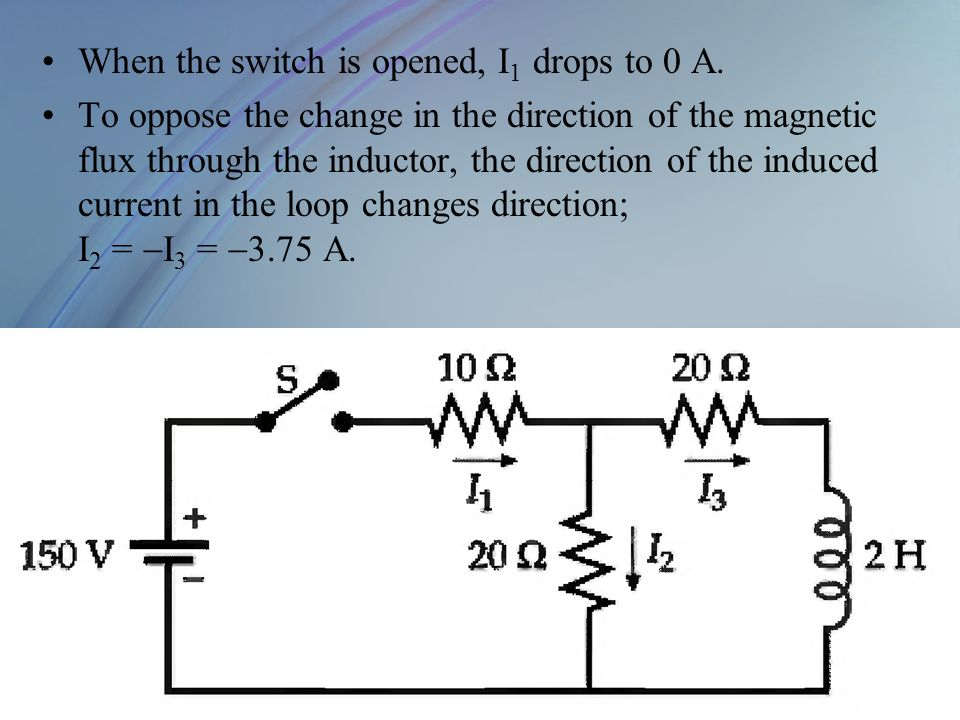 When the switch is opened, I 1 drops to 0 A. To oppose the change in the direction of the magnetic flux through the inductor, the direction of the ind