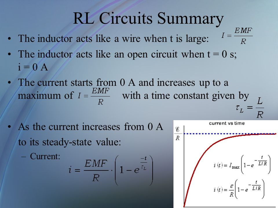 RL Circuits Summary The inductor acts like a wire when t is large: The inductor acts like an open circuit when t = 0 s; i = 0 A The current starts fro