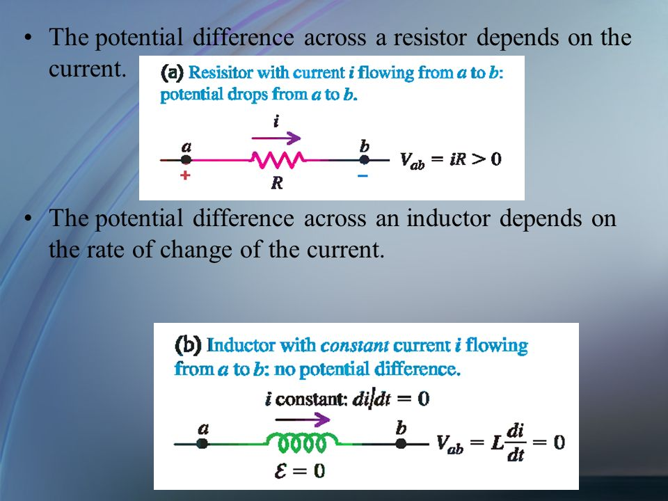 The potential difference across a resistor depends on the current. The potential difference across an inductor depends on the rate of change of the cu