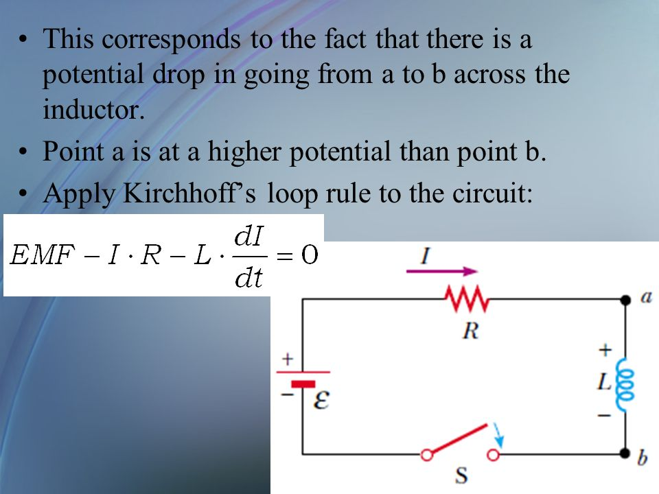 This corresponds to the fact that there is a potential drop in going from a to b across the inductor. Point a is at a higher potential than point b. A