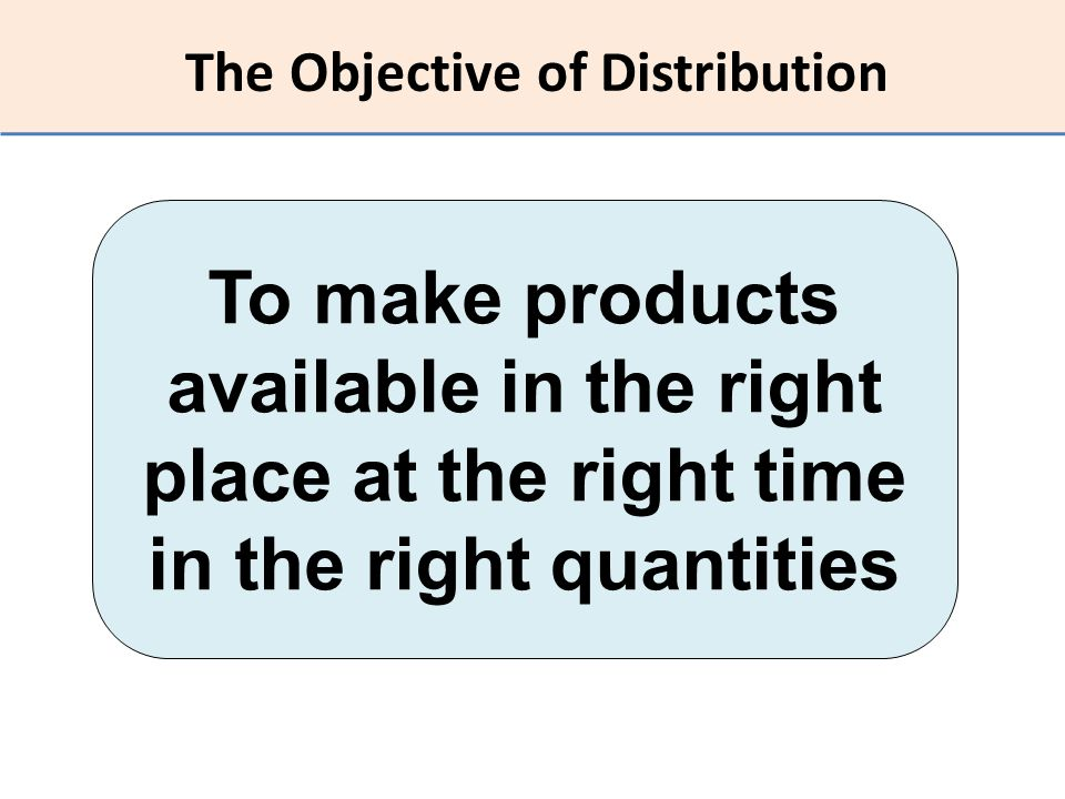 The Objective of Distribution To make products available in the right place at the right time in the right quantities