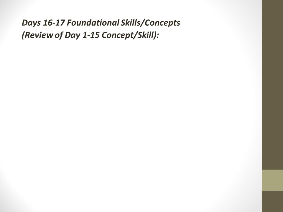 Days Foundational Skills/Concepts (Review of Day 1-15 Concept/Skill):